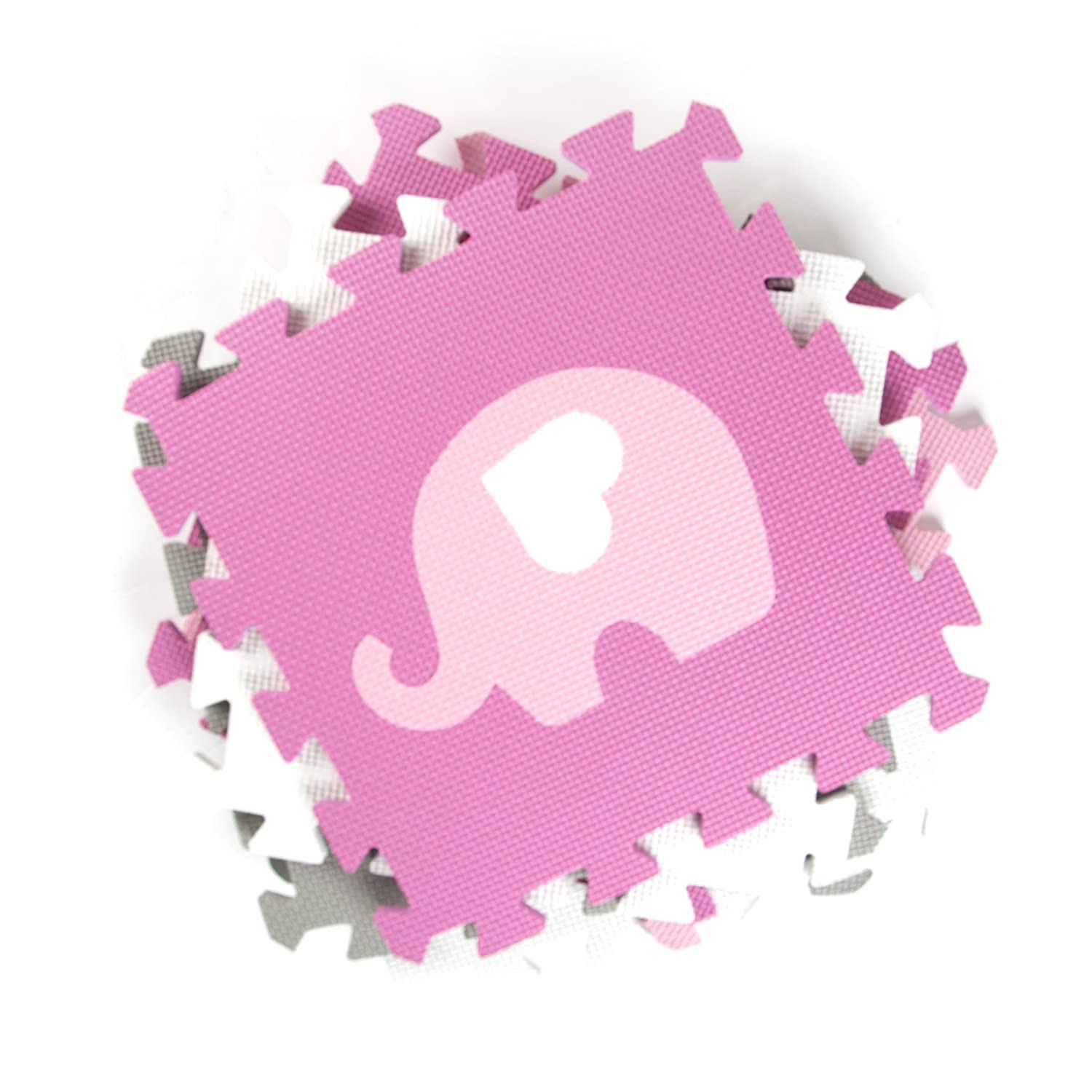 Tadpoles Playmat Set, Elephants, White//Hearts//Pink//Grey Sleeping Partners cpmsev927