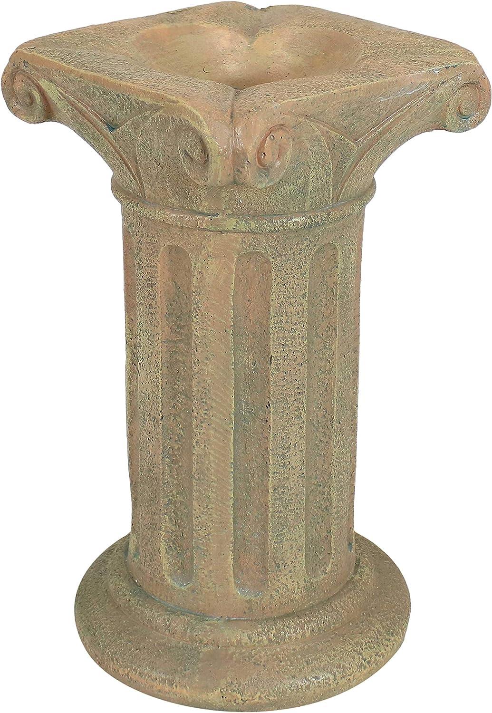 Sunnydaze Roman Pedestal Indoor/Outdoor Gazing Globe Stand - Column-Style Gazing Ball Pedestal for 10 to 12-Inch Garden Spheres - Autumn Leaf - 16 Inch