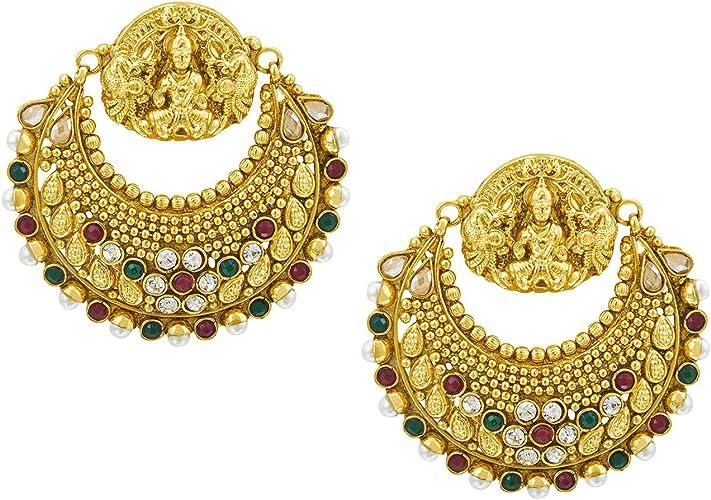 Indian Traditional Earring Ehtinc 18K Micron Goldplated Stud Fashion Jewelry