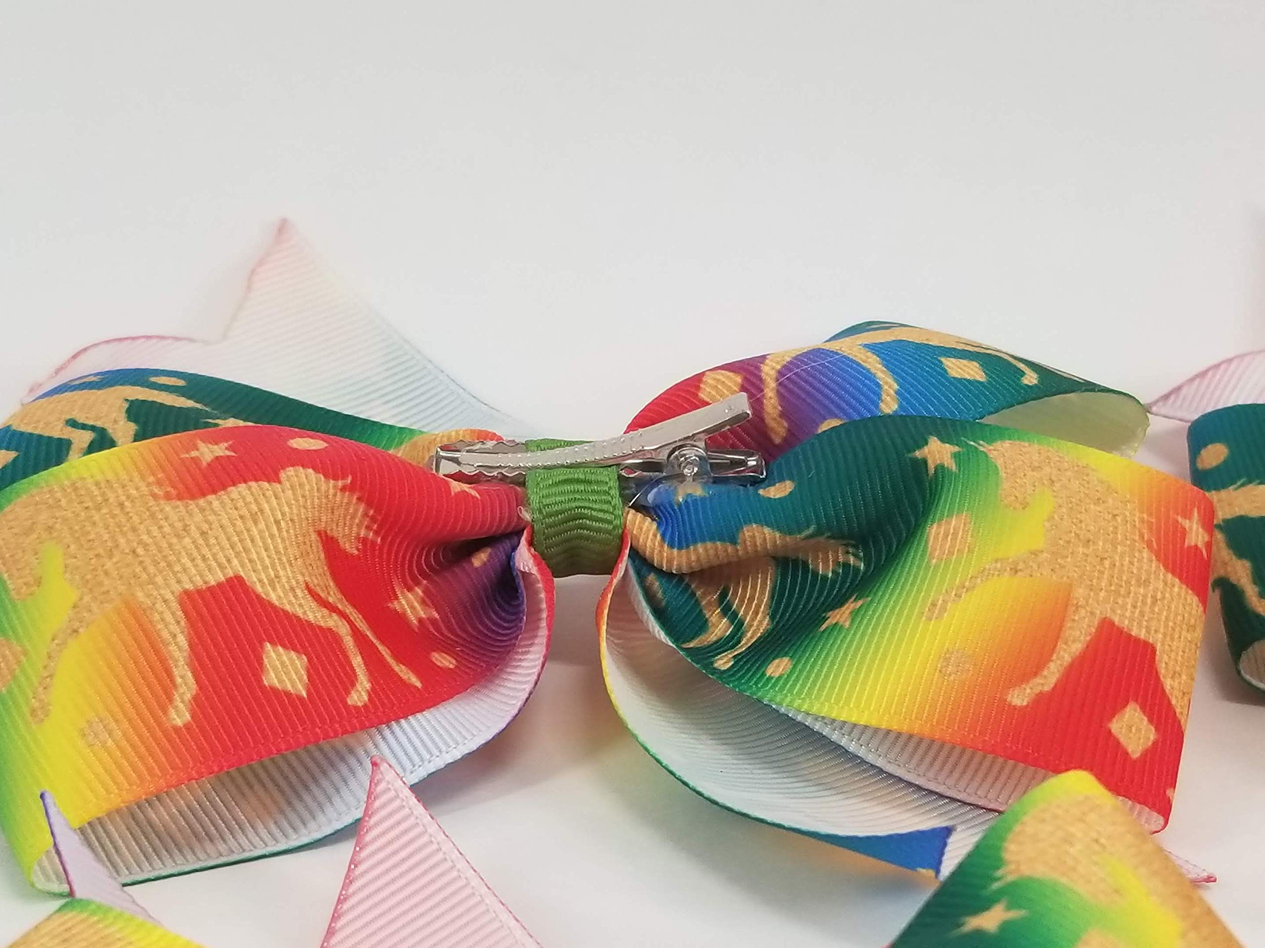 Rainbow Unicorns Hair Bow 9