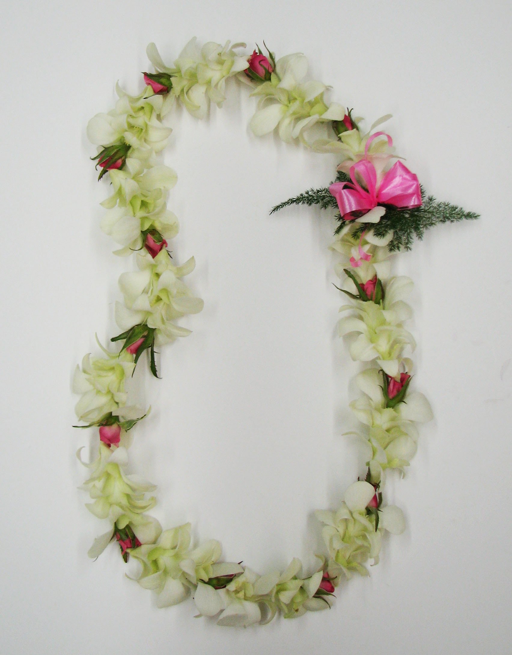 Flower Lei - Single Strand White Orchid and Rose Flower Lei