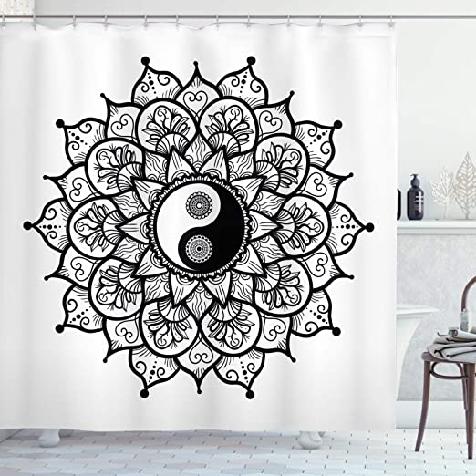Amazon Com Ambesonne Ying Yang Shower Curtain Retro Floral Yin Yang Design With Mandala Patterns Paisley Leaves Petals Boho Cloth Fabric Bathroom Decor Set With Hooks 84 Long Extra Black White Home