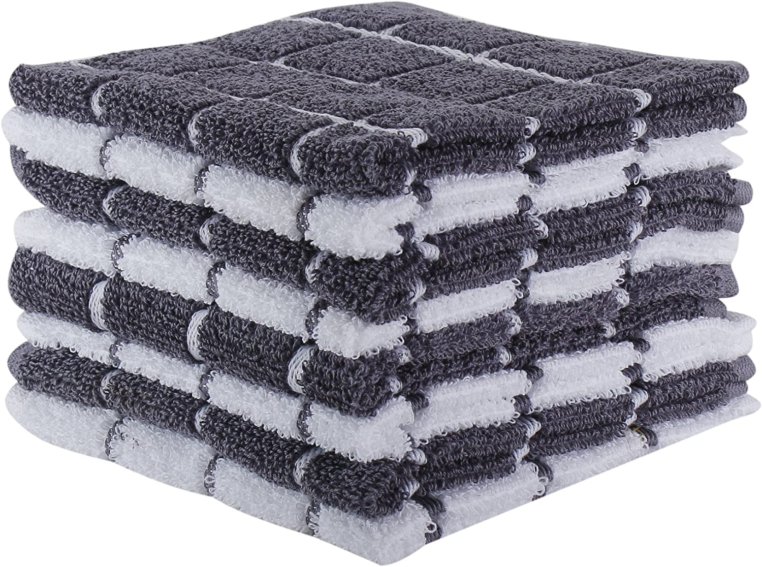 """The Weaver's Blend Set of 8 Terry Dish Cloths, Check Design, 100% Cotton, Absorbent, Size 12""""x12"""", Grey Check,Kitchen Towels and Dish Cloths"""