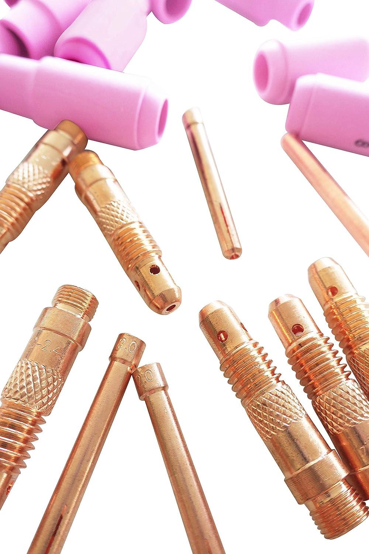25pcs Ensemble TIG Accessoires Soudage KIT 1,6 // 2,0 // 2,4mm Kattex electrodes en tungstene or; Gaz Lentille Collet Corps Alumine Coupe Alumine Buse Pour  TIG