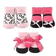 Luvable Friends 3-Pack Little Shoe Socks Gift Set, Dark Pink/Leopard, 0-9 Months