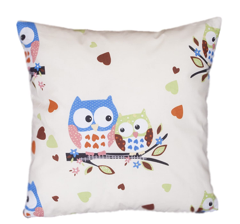 Amilian® Handcrafted Decorative Plush Filled Art-Deco Owl Print Ecru/Blue 100% Cotton Premium Quality Durable Throw Cushion Pillow 40 cm x 40 cm