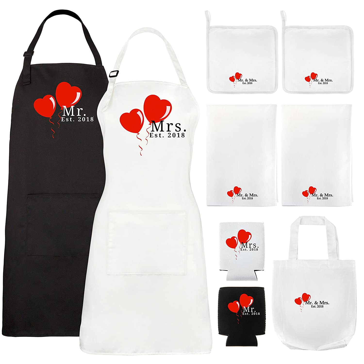 Mr. and Mrs. Aprons Est. 2018 Wedding Gift Set Bridal Shower Gifts for His Hers Couples By Let the Fun Begin