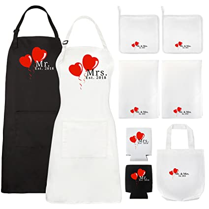 let the fun begin mr and mrs aprons 2018 kitchen wedding gift set or