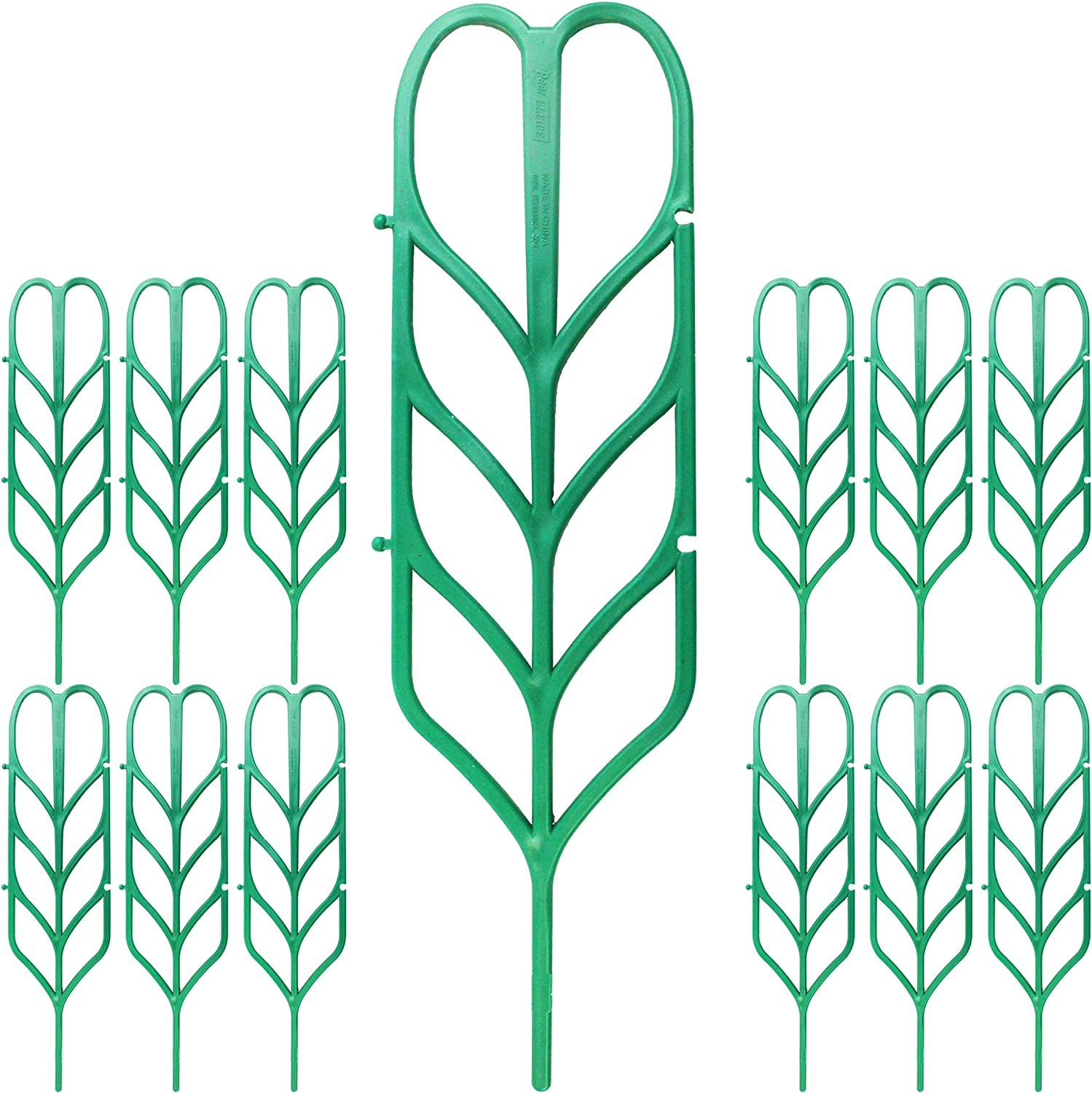 PeerBasics, Indoor Plant Trellis, 12 Pack, Climbing Garden Leaf Shape Supports, for DYI Climbing Stems Stalks & Vine Vegetable Potted Garden (12)