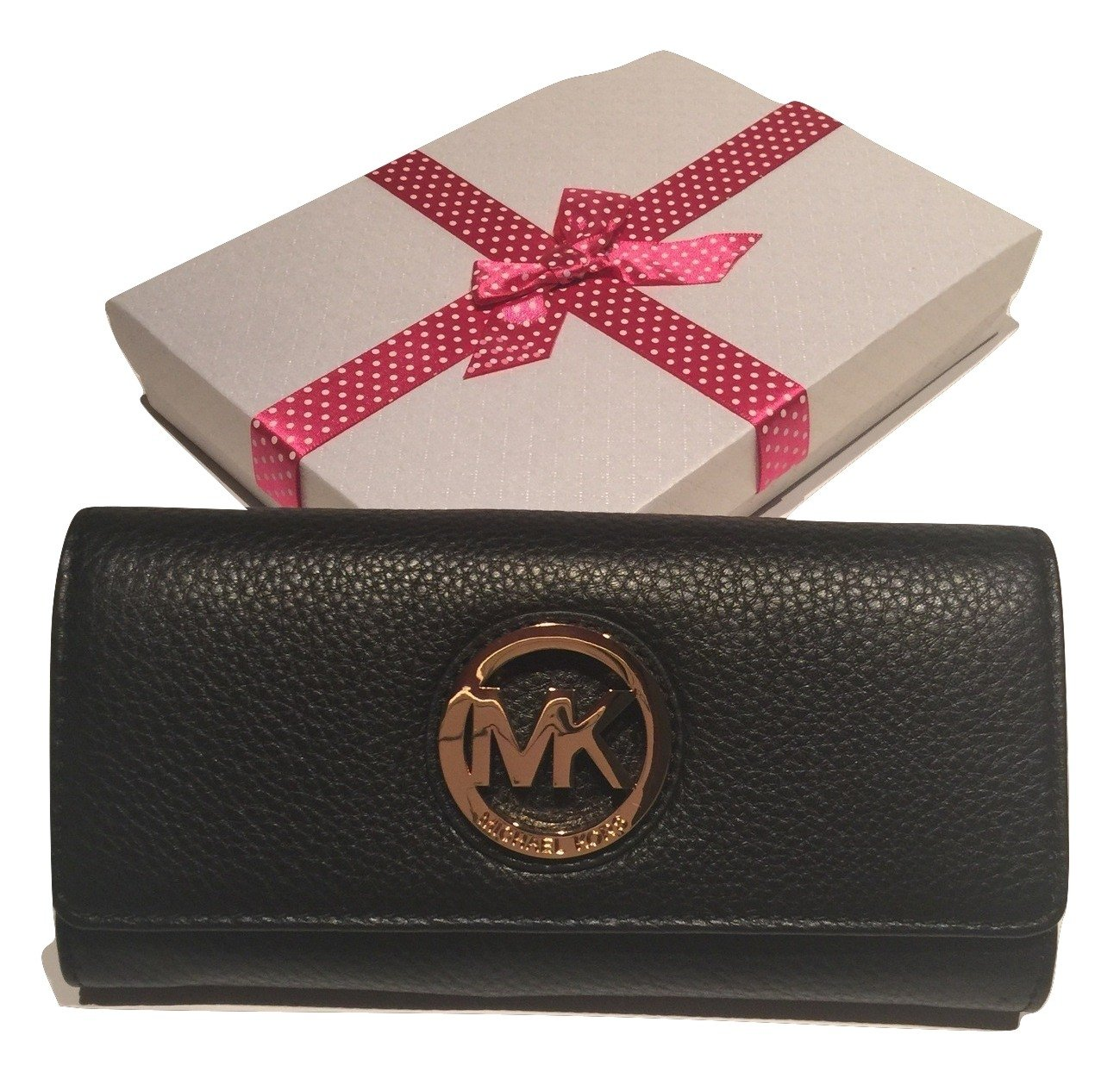 Michael Kors Fulton Flap Leather Clutch Wallet with Gift Box (Black)