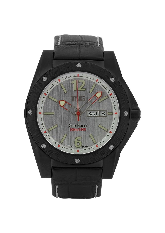 TNG Herren-Armbanduhr Analog Leder Schwarz TG667.30571.03PV