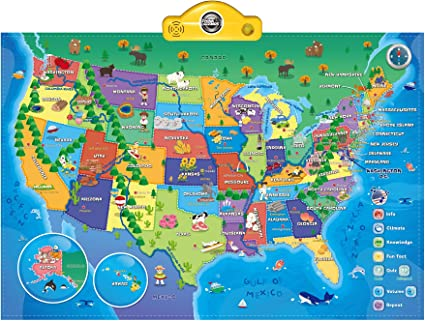 Full Interactive Map Of Usa.Amazon Com Interactive Talking Usa Map For Kids Tg660 Push