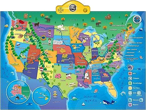 Think Gizmos Mapa Parlante Interactivo para niños TG660 - Aprende y Descubre más de 500 Hechos sobre los EE.UU. – Juguete Mapa Parlante Interactivo Ideal para Niños y Niñas de Edad 5,6,7,8,9,10: