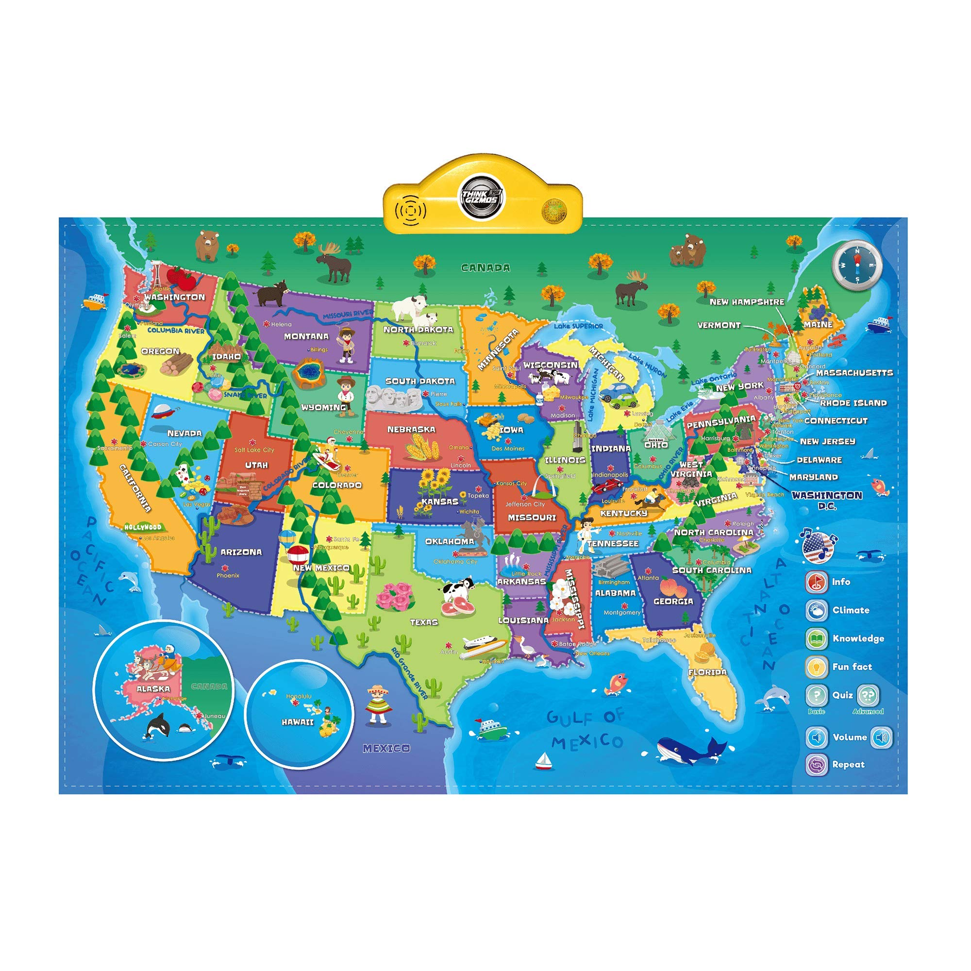 Interactive Talking USA Map for Kids TG660 - Push, Learn and Discover Over 500 Facts About The USA - Fun Educational Interactive Learning Toy Gift for Boys & Girls Aged 5,6,7,8,9,10 - by ThinkGizmos by Think Gizmos
