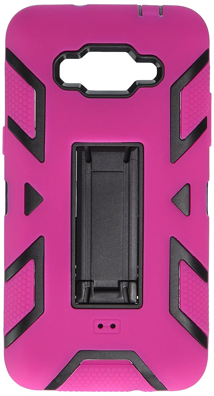 HR Wireless Carrying Case for Samsung Galaxy Grand Prime LTE - Retail Packaging - Black/Hot Pink