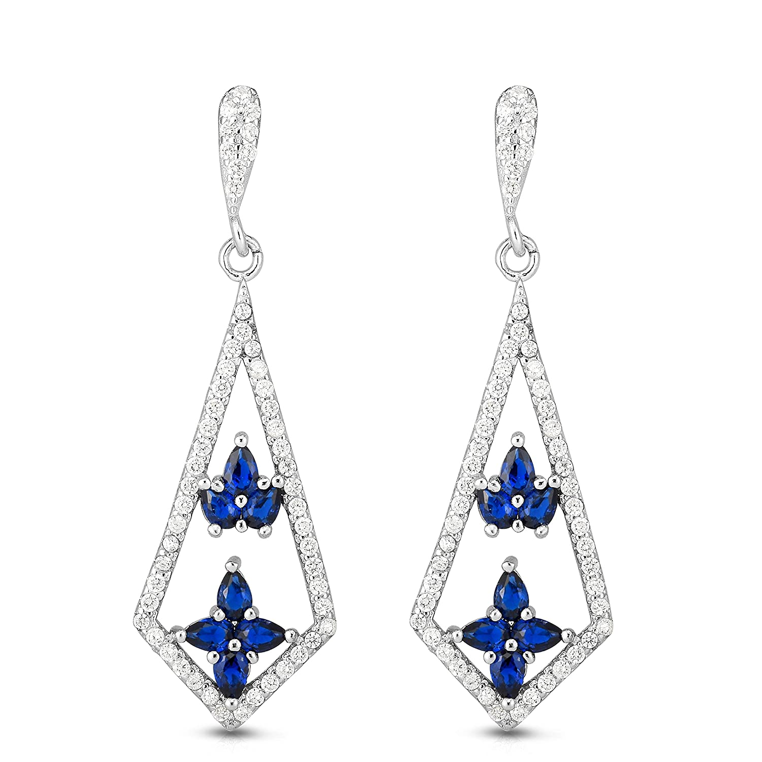 Unique Royal Jewelry 925 Solid Sterling Silver Cubic Zirconia and Simulated Colorful Stones Kite Shape Designer Dangling Drop Post Earrings.