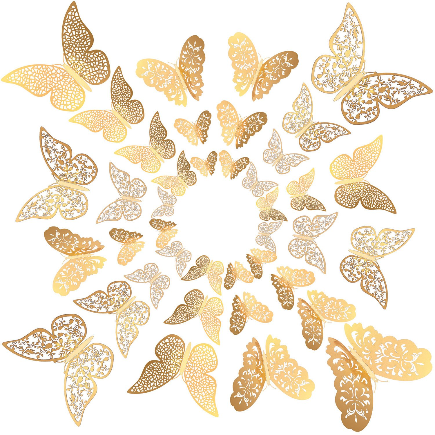 Amazon.com: Bememo 72 Pieces 3D Butterfly Wall Decals Sticker Gold ...
