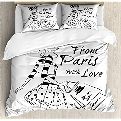 Anzona Paris Duvet Cover Set Full Size From Paris With Love Fashion