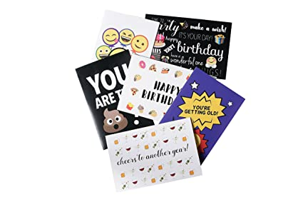 Birthday Cards Box Set 48 Pack Happy 6 Emoji Designs With Funny