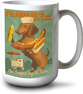 product image for Lantern Press Dachshund - Retro Hotdog Ad (15oz White Ceramic Mug)