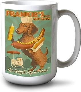 product image for Lantern Press Dachshund - Retro Hotdog Ad (15oz White Ceramic Mug)