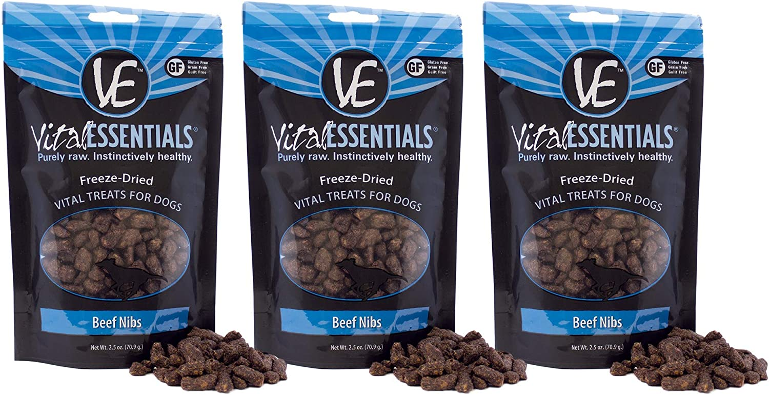 Vital Essentials Freeze-Dried Raw Beef Dog Treats All Natural Grain Free 100% USA Sourced & Made Single Ingredient Treat Breeds-All Sizes & Training & Traveling 3 Pack - 2.5 oz Ea