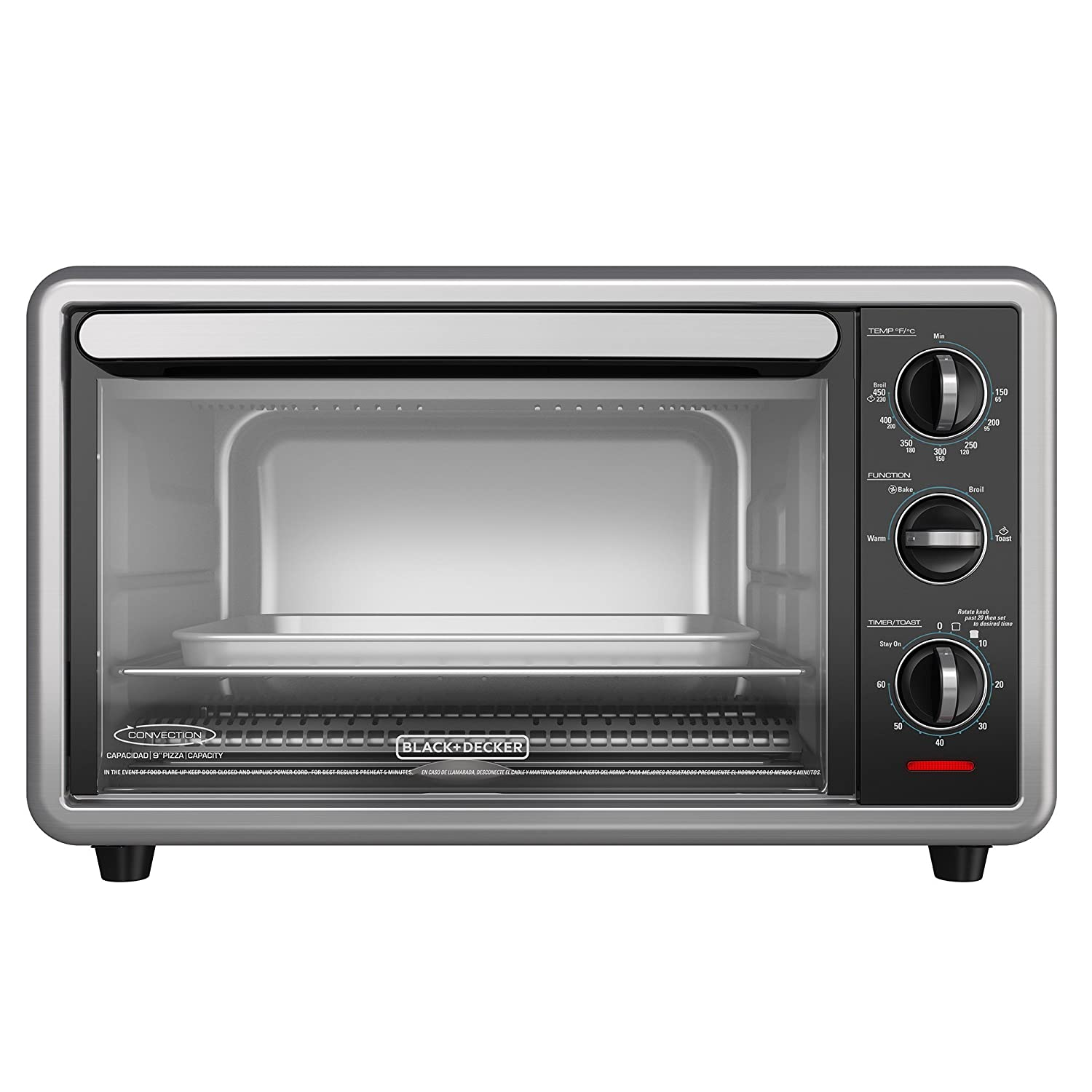 Amazon.com: BLACK+DECKER TO1216B 6-Slice Convection Countertop Toaster Oven, Includes Bake Pan, Broil Rack & Toasting Rack, Black Convection Toaster Oven: ...