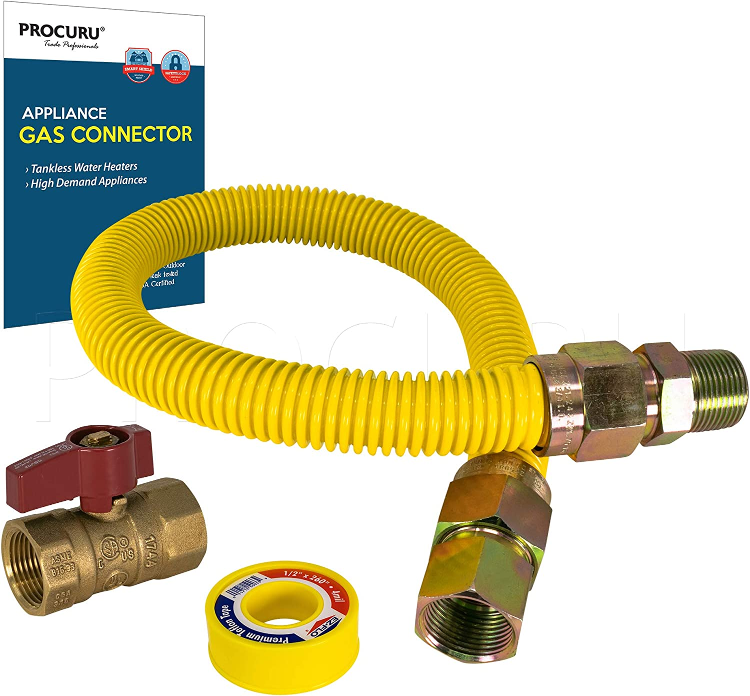 "PROCURU 1"" OD x 24"" Length x 3/4"" MIP x 3/4"" FIP Gas Flex Line Connector Kit with 3/4"" Valve, WeatherProof Max-Flow Stainless Steel with Yellow SafeGuard Coating for Tankless Water Heater"