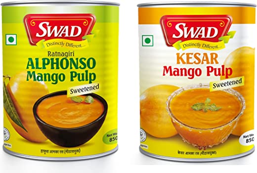 SWAD Pack of Natural Alphonso Pure Mango Pulp with no Added Preservatives– 850 g   Kesar Mango Pulp Sweetened, 850g Pack of 2