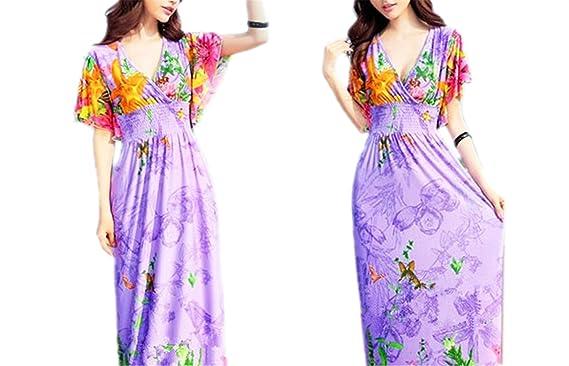 Amazon.com: AS503anakla Fashion quente do verão impressão praia vestido de seda das mulheres com decote em V sexy impressão flor plus size 6XL beach dress ...