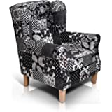 moebel-eins Willy Ohrensessel Wing-Chair Sessel Polstersessel Wohnzimmersessel Relaxsessel/Patchwork Schwarz