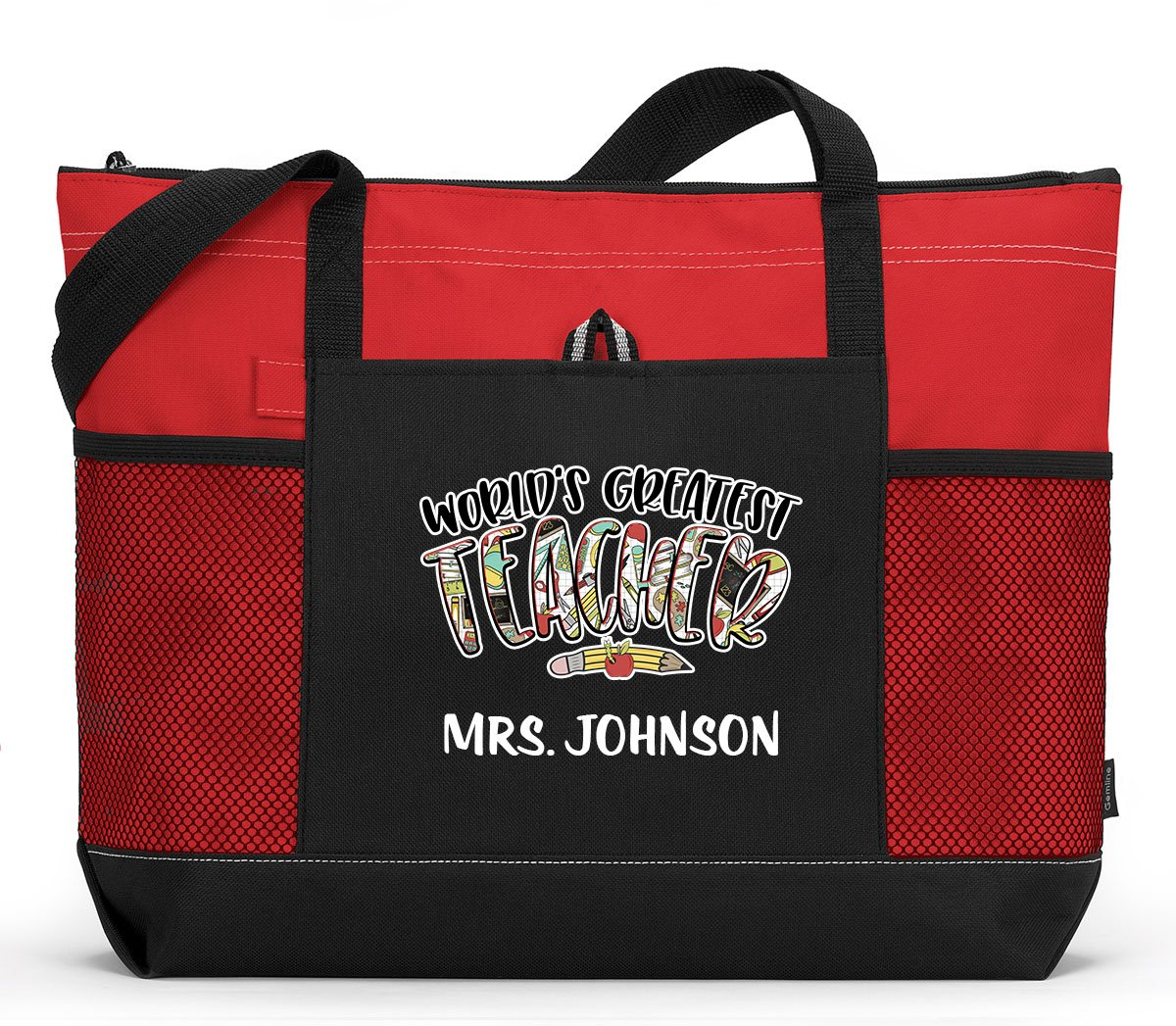 Personalized World's Greatest Teacher Tote Bag with Mesh Pockets