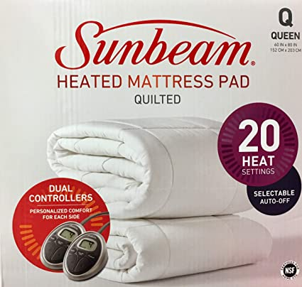 amazon heated mattress pad Amazon.com: Sunbeam All Season Premium Queen Heated Mattress Pad  amazon heated mattress pad