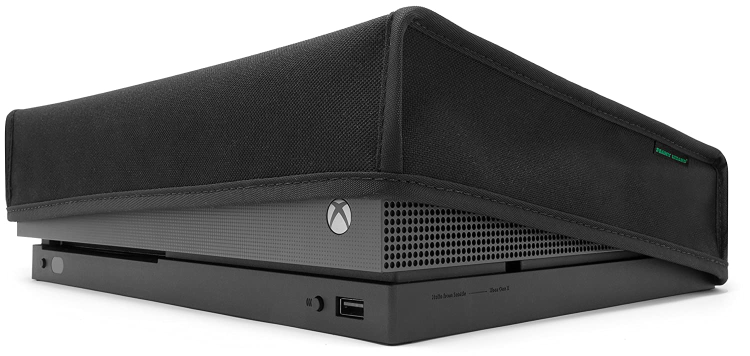 Amazon Com Xbox One X Dust Cover By Foamy Lizard The Original Made In U S A Texoshield Tm Premium Ultra Fine Soft Velvet Lining Nylon Dust Guard With Back Cable Port Horizontal Video