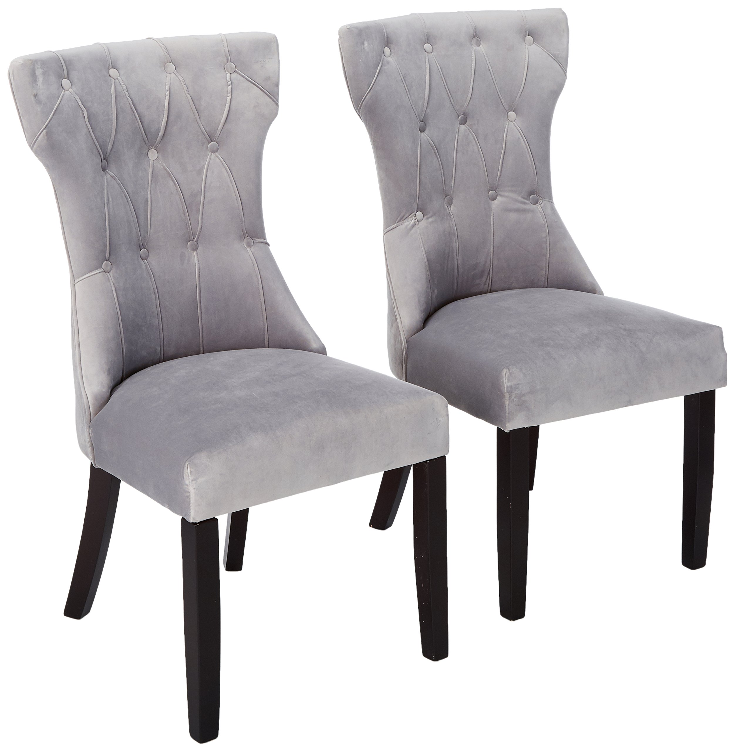 Roundhill Furniture C201GY Reims Velvet Tufted Upholstered Solid Wood Dining Chairs- Set of 2, Gray - Sold as a Set of 2 matching chairs - elegant, Classic upholstered dining room chairs Tapered chair Back featuring beautiful Diamond Pattern tufting with covered buttons in a timeless Hourglass silhouette Gently curved Espresso finished solid wood legs; legs are located in the compartment beneath the chair Seat - kitchen-dining-room-furniture, kitchen-dining-room, kitchen-dining-room-chairs - 81tVzwwn9SL -