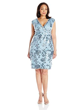 Marina Women&-39-s Plus-Size Short Dress In Floral Lace at Amazon ...