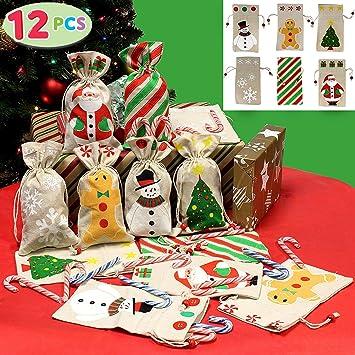 JOYIN 12 Pack Bolsa de Lona de Santa Saco de Navidad para Regalos Bolsa de Santa con Lazo (21.5x12.5cm): Amazon.es: Juguetes y juegos