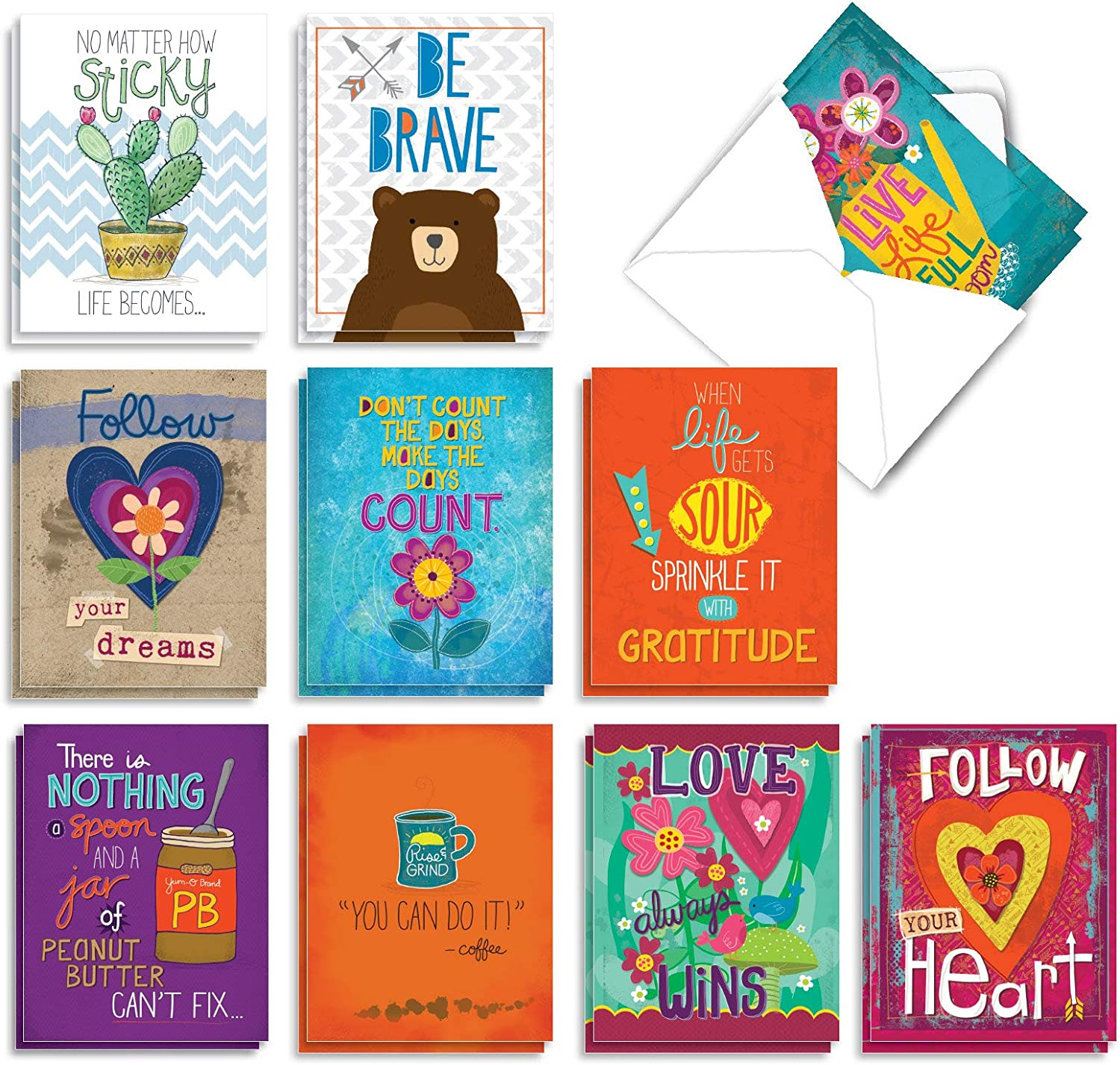 Letter initial N notecards with inspirational quote 5x3.5 6 cards with matching envelopes