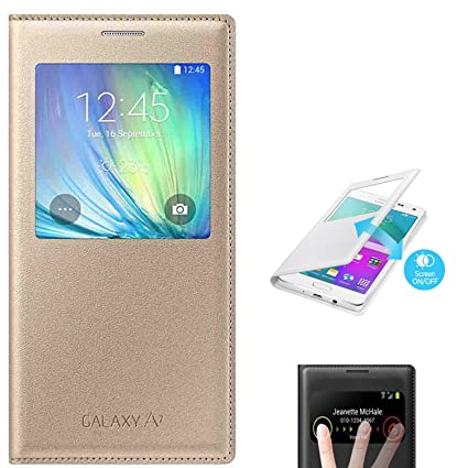 huge selection of 915fe c36f1 NETBOON Royal Protective Leather Flip Case Cover with Sensor Window View  for Samsung Galaxy A7 2015 -(Gold)