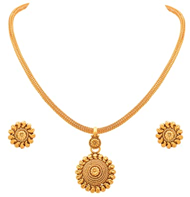 9112830b817e73 Jfl - Jewellery For Less Traditional Ethnic One Gram Gold Plated Pendant  Necklace Set For Women