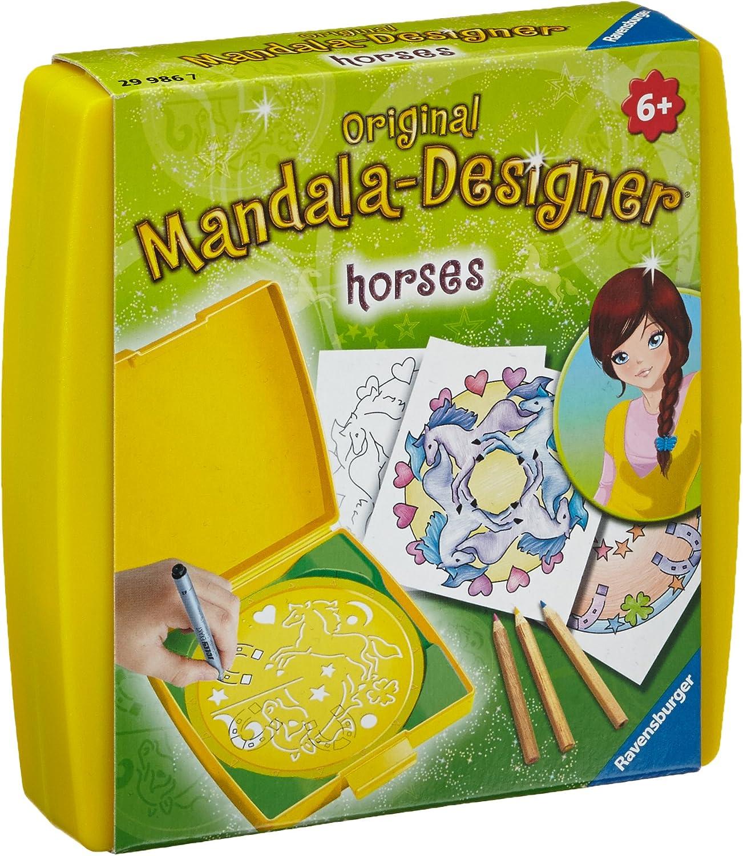 Ravensburger 29986 Mini Mandala Designer ® - Set de Dibujo y diseño temática de Caballos [Importado de Alemania]