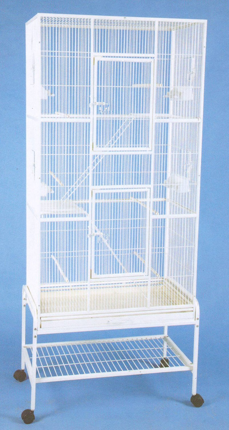 New Extra Tall Large Wrought Iron 3 Levels Ferret Chinchilla Sugar Glider Bird Cage 30''Length x 18''Depth x 72''Height W/Stand on Wheels