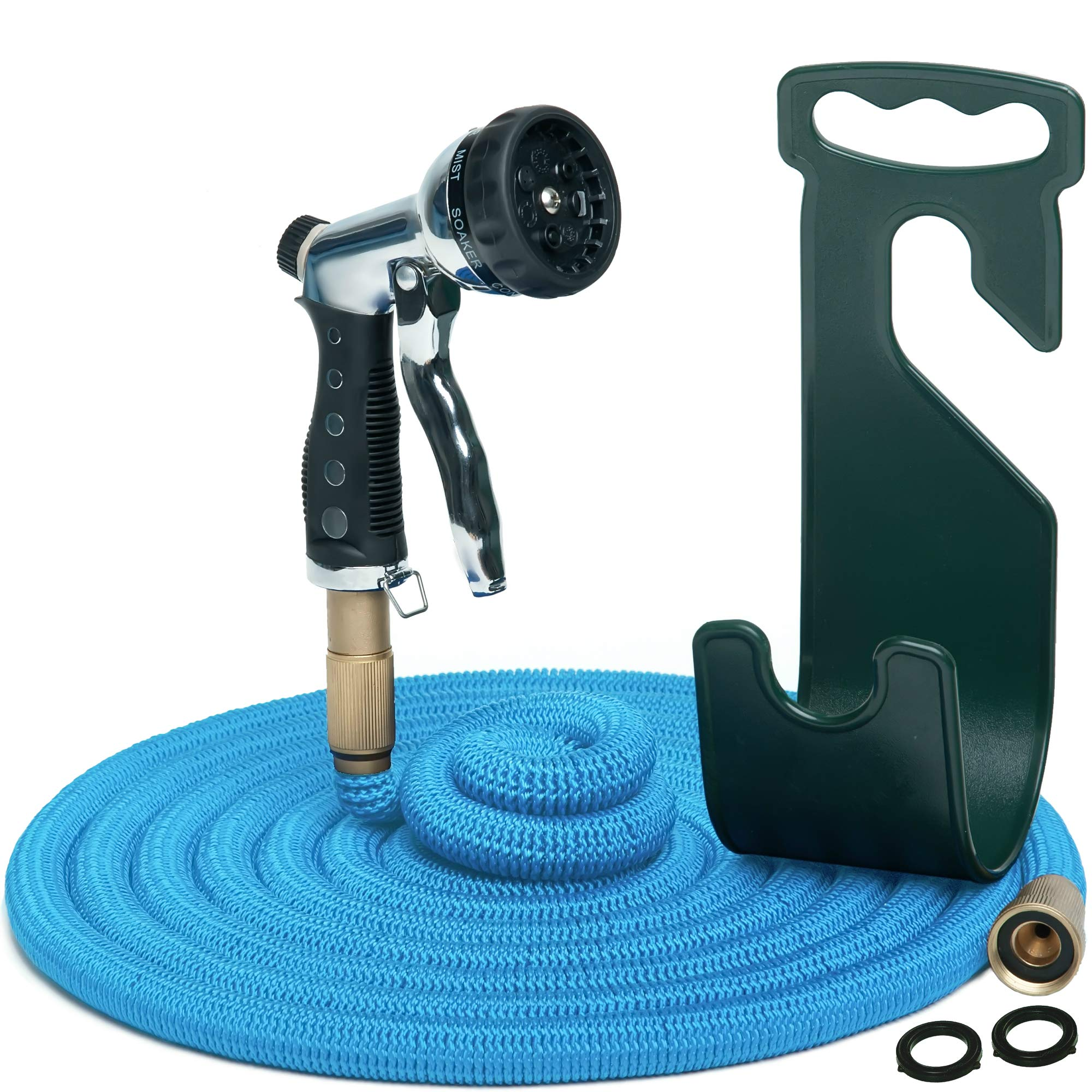Water Hose – Large Expandable Garden Hose 100 Feet - Hose Holder and High Pressure Washer Hose Spray Nozzle With 7 Settings – Solid Brass Fittings - Heavy Duty Outdoor Kink Free Retractable Flex Hose