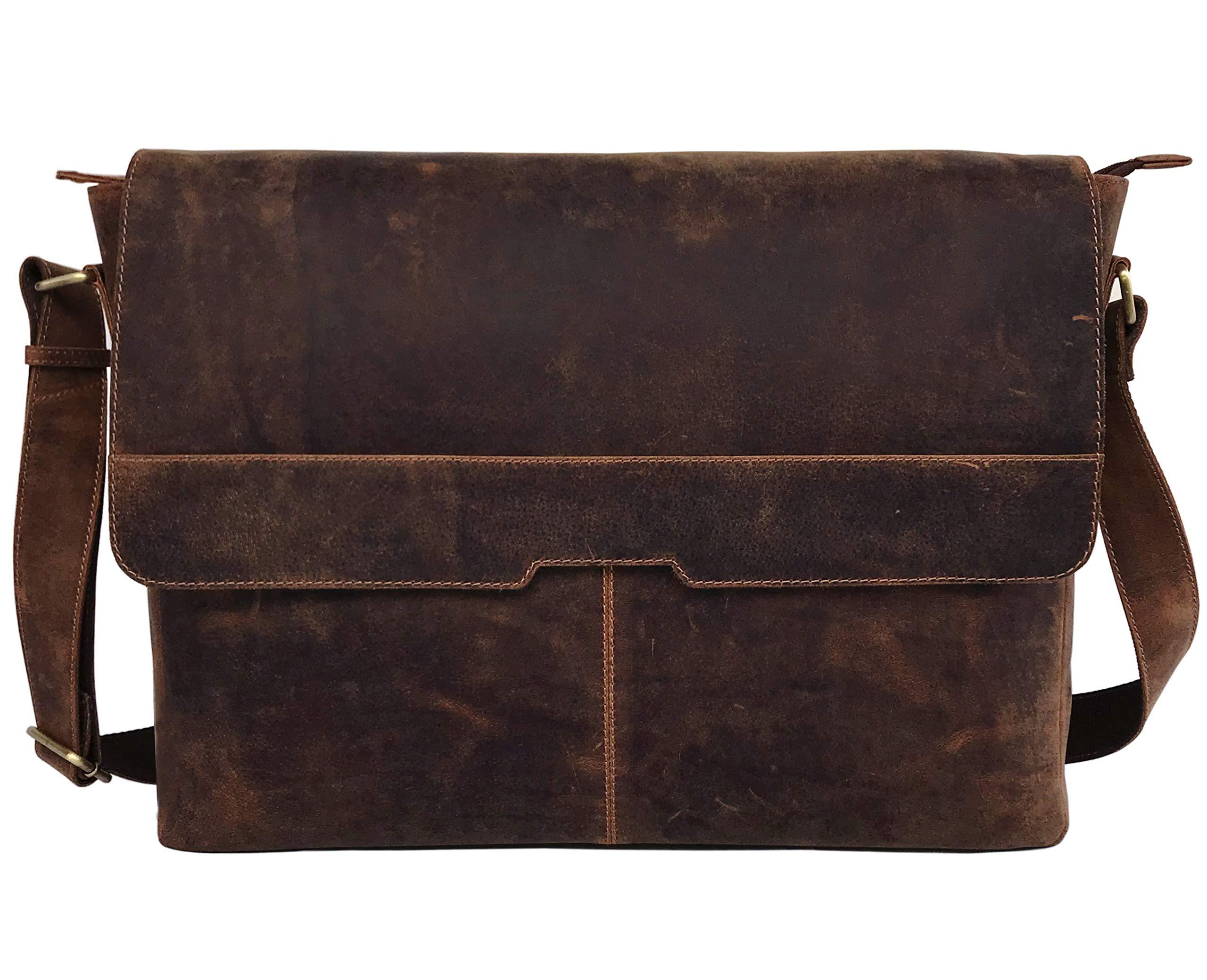 18'' Leather Messenger Bag Vintage Buffalo Satchel Laptop Briefcase Unisex Computer Bags for Men Women (Vintage Brown) by cuero (Image #2)