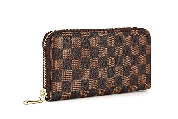 Daisy Rose Women's Checkered Zip Around Wallet and Phone Clutch - RFID Blocking with Card Holder Organizer -PU Vegan Leather, Brown