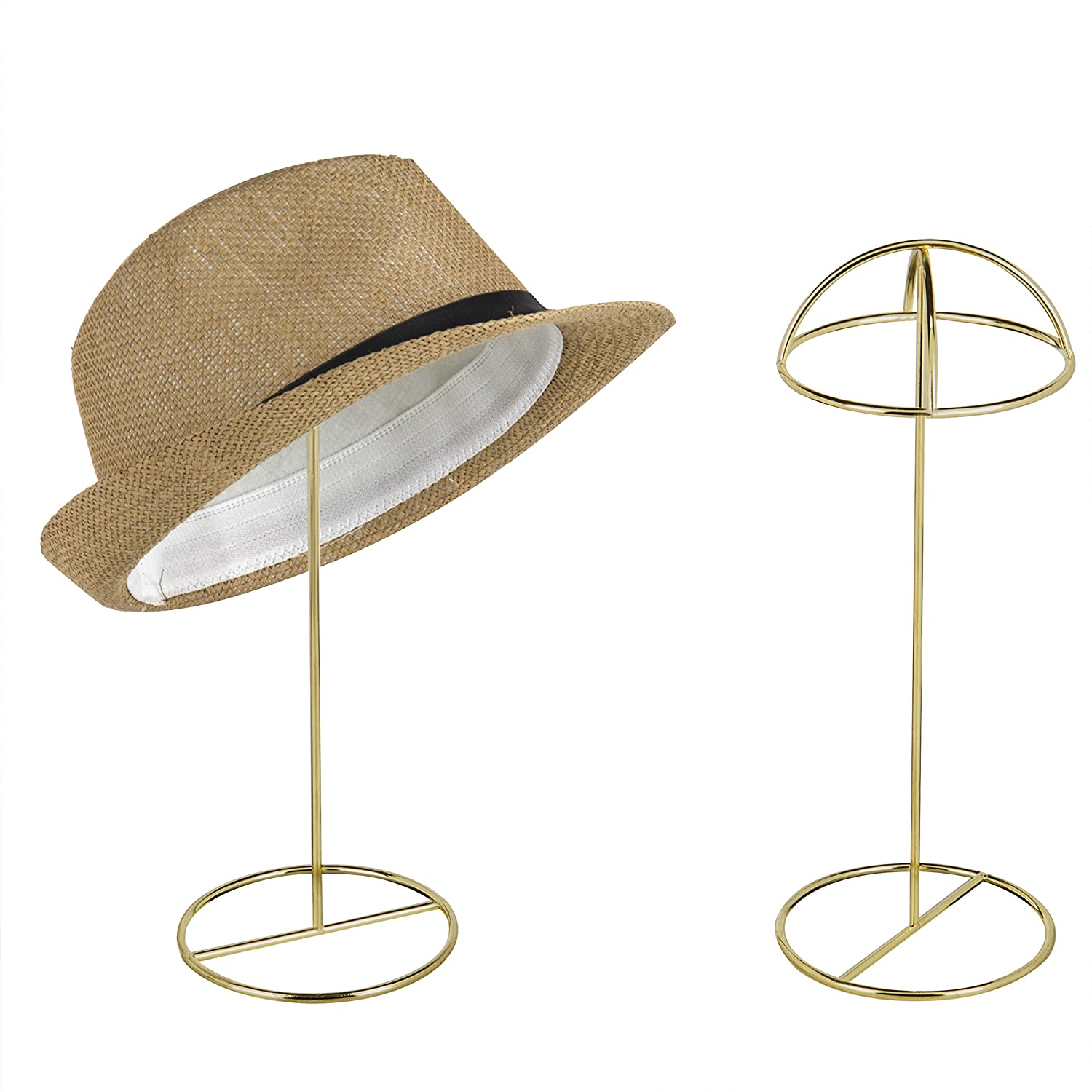 MyGift 14-Inch Brass-Tone Wire Tabletop Hat Stands, Set of 2