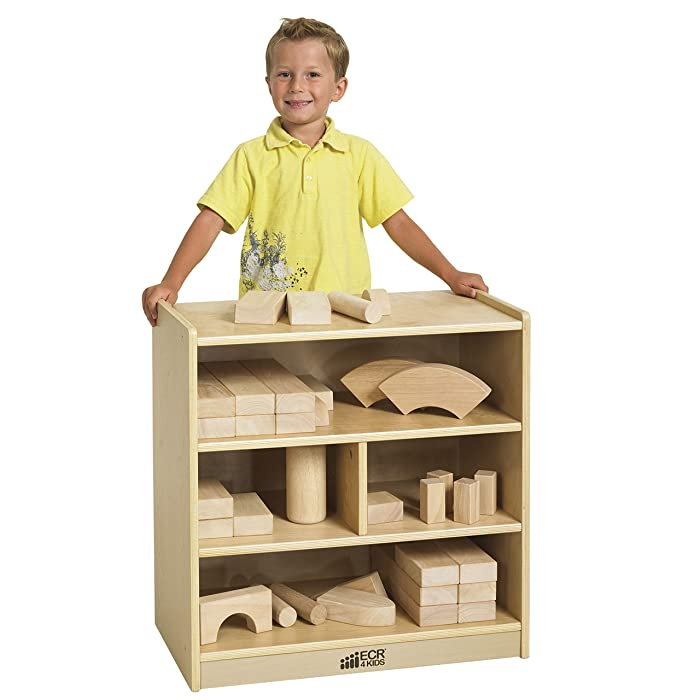 """ECR4Kids Birch 4-Cubby School Classroom Block Storage Cabinet with Casters, Natural, 24"""" W"""