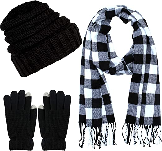 SATINIOR Winter Warm Set Beanie Hat Knitted Scarf and Touchscreen Gloves Set Soft Stretch Hat Scarf and Mitten for Men and Women