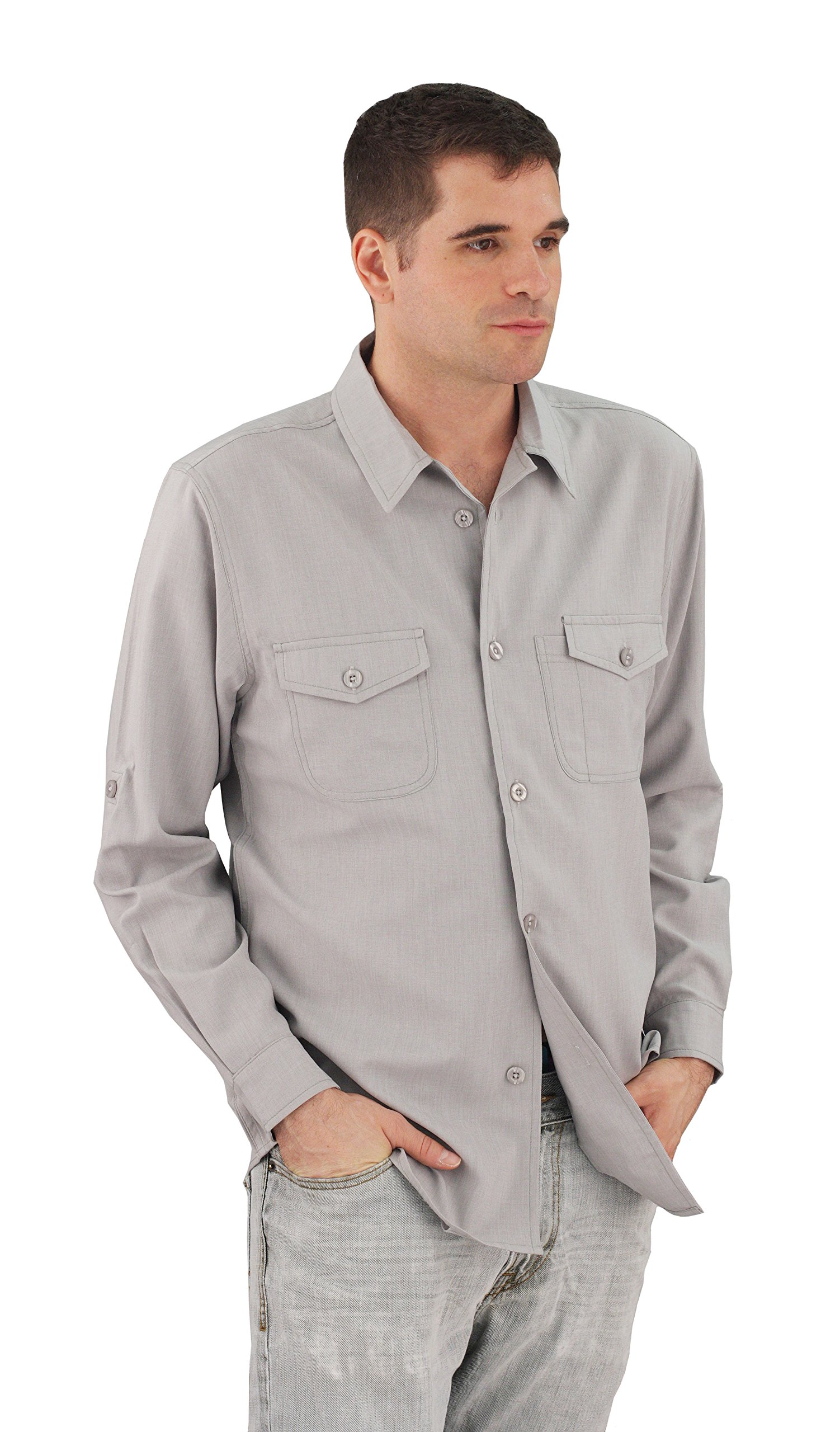 ASD Living Zanzibar Long Sleeve Dry Fit Server Waitstaff Shirt, X-Large, Grey by ASD Living