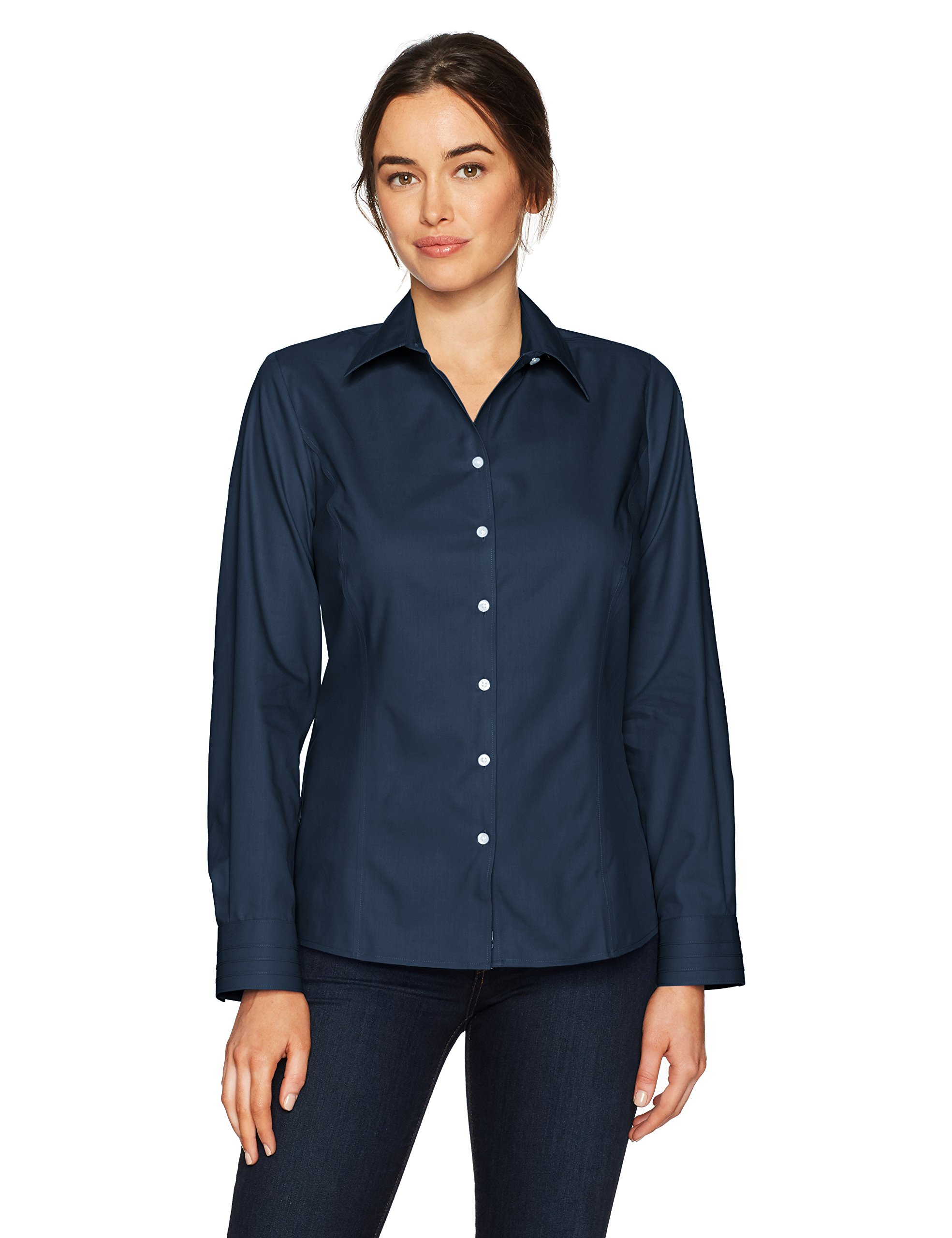 Cutter & Buck Women's Epic Easy Care Long Sleeve Fine Twill Collared Shirt, Navy Blue, XS